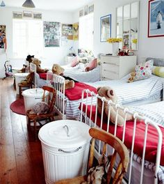 """serial organization"" for shared kids room. Love the look, and there is the IKEA Minnen bed again..."