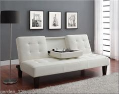 Futon Convertible Sofa Bed Couch Sleeper Faux Leather White Lounger
