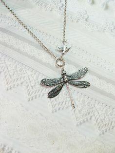 Silver Necklace  - Silver Dragonfly and Sparrow Necklace - Jewelry by BirdzNbeez. $18.00, via Etsy.