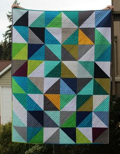 HST quilt washed & crinkly | A Quilter's Table