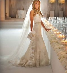 clean look. ceremony candles and flowers