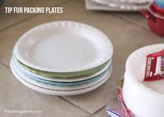 Moving? Pack your plates with foam disposable plates between them so they don't break! #tips