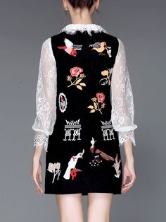 AOFULI Embroidered Wool blend Mini Dress