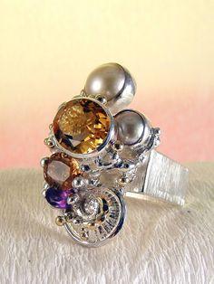 stříbro a 18 karátové zlato, ametyst, citrín, turmalín, perly, umělecké šperky v…