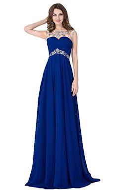 ZS-CPS073SB10, Sapphire Blue, Size 10, Women's Long Chiffon Party Dresses