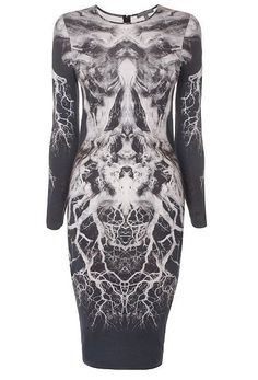 alexander mcqueen lightening skeleton dress black and white monochrome