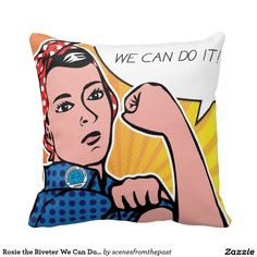 Rosie the Riveter We Can Do It! POP Art Style Dots Pillows