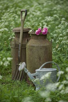 Nothing in your garden should look too polished. In that vein, it's best to use garden accessories that have a vintage feel, like a weathered pitchfork or an old galvanized steel watering can.