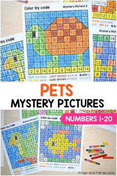 These pages are a fun way for kids to practice identifying numbers and also strengthening fine motor skills! They make great practice pages or center activities. The mystery pictures in this set include numbers up to 20. #mysterypictures #colorbynumber #preschool