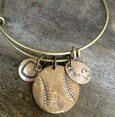 Bangle Baseball / Softball Bracelet Number Tag and by sosobellatoo Baseball Softball Hand Stamped Bracelet