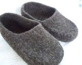 Felted Brown Wool Shoes or Slippers