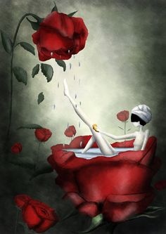 Un bain dans les roses. 11x16,5 fine art print - Named and signed on the back