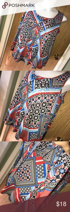 """Printed layered tank top Multi color printed layered tank top with buttons on the front. Great used condition. Size 2x. Polyester/spandex. 27"""" from armpit to armpit,  17"""" from armpit to hem. Style & Co Tops Tank Tops"""