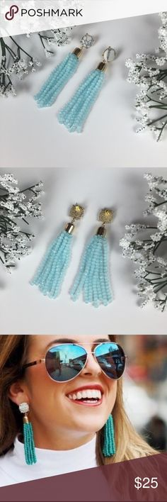 """NEW light mint beaded tassel marble earrings So cute and perfect with any fun outfit!! Cute faux white and black marble with light mint beaded tassel. Gold zinc alloy metal. Earrings are about 3"""" long. Free gift with any purchase from my closet ❤! I have these in lots of colors! Bundle and save!  no trades Jewelry Earrings"""