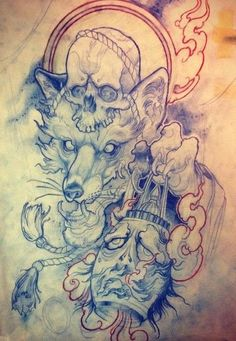 Fox tattoo design.