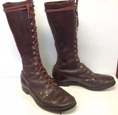"""VINTAGE PUTNEY TALL MEN'S 16"""" KNEE HIGH LEATHER LOGGER WORK LINESMAN  BOOTS 10.5 