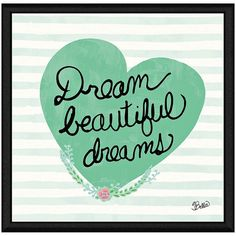 ''Beautiful Dreams'' Framed Canvas Wall Art, Green (360 BAM) ❤ liked on Polyvore featuring home, home decor and wall art