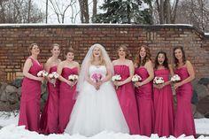 Fuschia bridesmaid dresses   I Love Farm Weddings