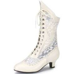 Ivory Victorian Boots Lace up Boot Granny Boots Costume Dame ...
