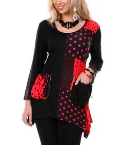 Aster Red & Black Polka Dot Patchwork Handkerchief Tunic   Something special every day