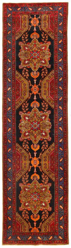 "3'7"" x 13'4"" ANTIQUE PERSIAN HERIZ Tribal Hand Knotted Wool BLACK Runner Rug #PersianHerizTraditionalGeometricTribal"