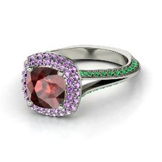 Elena Ring (8mm gem), Cushion Red Garnet White Gold Ring with Emerald