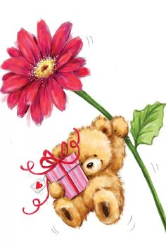 Tatty Teddy, Happy Birthday Wishes Cards, Birthday Greetings, Teddy Bear Pictures, Flower Artists, Flower Canvas, Cute Teddy Bears, Big Flowers, Birthday Images