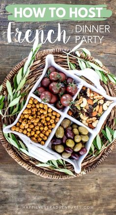 How to bring your France travels home and host a French theme dinner party. French Dinner Menu, French Dinner Parties, French Themed Parties, French Recipes Dinner, Easy Dinner Party Recipes, Dinner Club, Supper Club, Queso Fresco, Dinner Themes