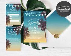 Digital Web and Print designs by Artsyly on Etsy Beach Wedding Invitations, Wedding Envelopes, Wedding Invitation Templates, Bridal Shower Invitations, Wedding Printable, Digital Invitations, Printable Invitations, Printables, Wedding Signage