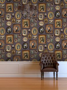 Our Graduate Collection Portrait Gallery Wallpaper designed by Charlotte Cory will add a great conversation piece to your home. It will instantly change the whole feel of the space and the whole mood of the people in that space. Bold Wallpaper, Unique Wallpaper, Animal Wallpaper, Galerie Wallpaper, Design Living Room, Design Floral, Style Deco, Wall Decor, Room Decor