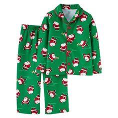 Toddler Boys  Long-Sleeve Fleece Coat Pajama Set Green Santa - Just One You 4c38d8aaa