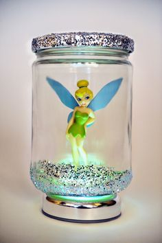 Put some glitter in a jar with a disney character. Glitter glue the top. Set on a tap light.