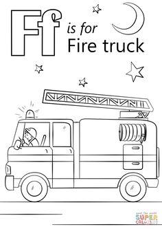 Fire Truck Coloring Page . 30 Fire Truck Coloring Page . Free Printable Fire Truck Coloring Pages for Kids Truck Coloring Pages, Alphabet Coloring Pages, Coloring Pages To Print, Free Printable Coloring Pages, Coloring For Kids, Coloring Pages For Kids, Alphabet Worksheets, Preschool Worksheets, Coloring Book