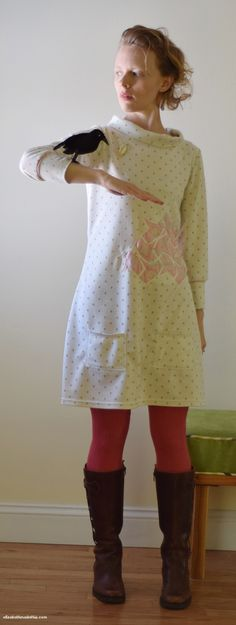A bird tessalation dress is sewn using reverse applique on ponte knit fabric and Tilly and the Button's Coco dress pattern.