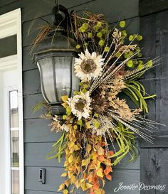 Make it yours in any season. Lovely light decor idea. Fresh greens, red balls and festive ribbon for Christmas, pussy willow, forsythia, green ribbons in spring, hydrangea and leaves, berries any season. :-)