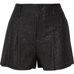 Alice + Olivia Pleated metallic tweed shorts ($160) ❤ liked on Polyvore featuring shorts, black, high rise shorts, loose high waisted shorts, loose fitting shorts, high-rise shorts and loose fit shorts