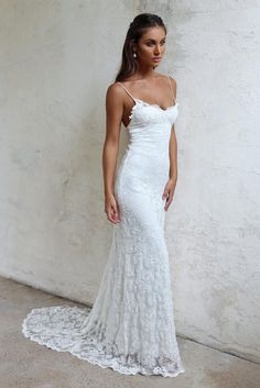 Designed for the minimalist bride who wants to make a statement in the most subtle, yet unforgettable way, our Mia gown is all about the simplistic silhouette. Western Wedding Dresses, Dream Wedding Dresses, Designer Wedding Dresses, Bridal Dresses, Wedding Gowns, Bridesmaid Dresses, Lace Weddings, Wedding Dresses Slim Fit, Deb Dresses