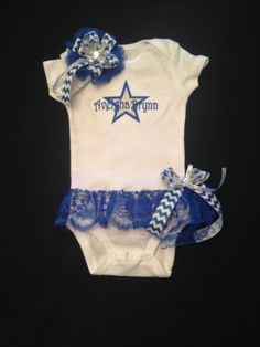 Baby Girl's Monogramed Dallas Cowboys Onesie with Attached Lace Skirt. Skirt has a Detachable Bow. Matching Headband. 0-18 M by PurttyStitches on Etsy https://www.etsy.com/listing/200869642/baby-girls-monogramed-dallas-cowboys