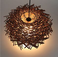 Modern Hand Made Bird Nest pure rattan wooden Stick pendant lamp suspension light home lighting original color/ coffee Modern Lighting Design, Rustic Lighting, Home Lighting, Dining Pendant, Wood Pendant Light, Pendant Lamps, Pendant Lights, Pendants, Luminaire Design