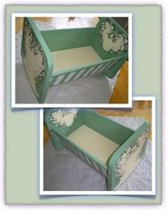 It's easy to build and paint a toy baby doll's cradle for a toddler! Baby Doll Furniture, Kids Furniture, Painted Furniture, Baby Doll Crib, Baby Doll Toys, Doll Crafts, Diy Doll, New Project Ideas, Craft Ideas