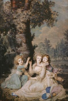 miniature of Marie Antoinette with Madame Royale and Louis-Charles, painted in early 1790 by François Dumont.