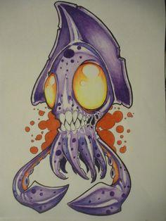 Creepy Drawings, Fish Drawings, Dark Art Drawings, Art Drawings Sketches, Cartoon Drawings, Awesome Drawings, Graffiti Cartoons, Graffiti Characters, Graffiti Drawing