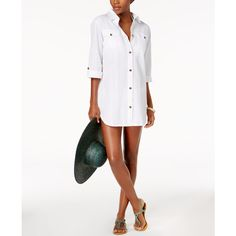 Dotti Cabana Life Shirtdress Cover-Up ($49) ❤ liked on Polyvore featuring swimwear, cover-ups, white, white swim cover up, dotti swimwear, swim cover up, cover up swimwear and white beach cover ups