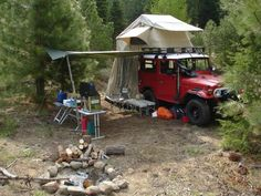 Old School Camping!! https://www.facebook.com/LandCruiserWorld is a worldwide community dedicated to the most desirable vehicle in the world, the Toyota Land Cruiser. #toyota #landcruiser #fj40