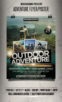 Adventure Flyer / Poster by muharamm Adventure Flyer templates or poster templates designed to promote any kind of music event, concert, festival, party or weekly even