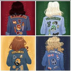 Gracie Gryffindor, Stacy Slytherin, Hannah Hufflepuff, and Rosie Ravenclaw - Hogwarts Harry Potter Anime, Harry Potter Fan Art, Harry Potter Casas, Casas Estilo Harry Potter, Images Harry Potter, Mundo Harry Potter, Cute Harry Potter, Harry Potter Drawings, Harry Potter Outfits