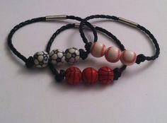 Fun sporty bracelet choice of soccer, baseball or basketball beads on a braided cord
