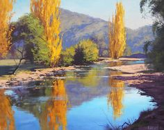 Fall Foliage Wall Art - Painting - Tumut River Gold by Graham Gercken Farm Paintings, Unique Paintings, Your Paintings, Paintings For Sale, River Painting, Oil Painting On Canvas, Canvas Art, Painting Trees, Landscape Artwork