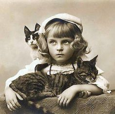 Solemn faced girl with two cats.