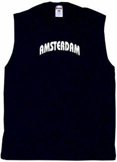 Amsterdam Mens Tee Shirt 2XL-Black Sleeveless